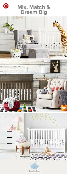 Create the nursery of your dreams with Cloud Island crib bedding and decor, new and only at Target. With over 10 unique collections, you're sure to find something that perfectly fits your style. Starting with the Black & White collection as a sleek, monochromatic base, simply mix and match other Cloud Island collections for your own personalized look. Have fun with furniture, rugs, wall art, blankets and toys by integrating these pieces for a space you adore.