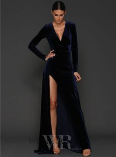 Fontaine Gown. A beautiful full length dress by Elle Zeitoune. A velvet gown featuring a deep v-eckline and high side split.
