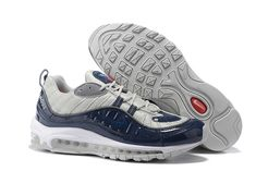 Nike Air Max 98 x Supreme Navy Obsidian Blue Grey Cushioning Running Shoes  844694-400 369c57a59