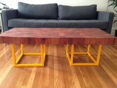 Redwood butcher block table...beautuful!