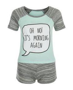 Teens Mint Green Oh No It's Morning Print Pyjama Set   New Look