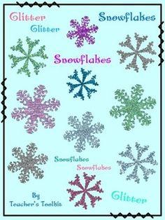 {Freebie}  Glitter Snowflakes Clip Art CU OK