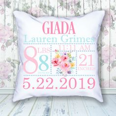 Floral Birth Announcement Pillow • Jammin Threads Gifts In A Mug, Baby Gifts, Birth Announcement Girl, Quilt Labels, Gifts For New Parents, Baby Keepsake, Custom Quilts, New Baby Products, Floral