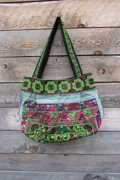 Grand sac ethnique bohème vert sac hippie par LaCaravaneTzigane