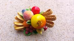 1940s Vintage Carmen Miranda style Colorful Fruit Brooch Pin marked Western Germany by RomanticaUSA on Etsy