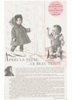 PAR AMOUR DES POUPEES :: M&T 1960-10 manteau de pluie pour Françoise (couture) et costume pour Michel (tricot)