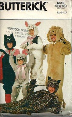 Children's Animal Costumes Pattern Black by DawnsDesignBoutique, $8.00