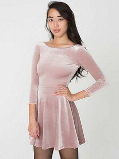 Stretch Velvet Skater Dress   American Apparel $58
