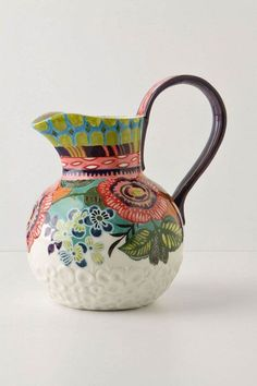 pretty pitcher from anthro Box Container, Design Blog, Design Design, Deco Table, Ceramic Pottery, Ceramic Jugs, Ceramic Pitcher, Decoration, Home Accessories