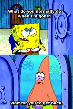 To olivia or maybe all of them: so.. theres this spongebob quote and spongebob asks Patrick What he does when spongebob is gone and patrick replies that he waits for him to return.... I'm patrick