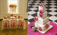 Bright Summery table & cake in pink & yellow #weddings #weddingcakes #blisschicago