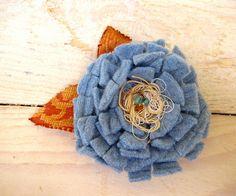 Blue felt and fabric flower brooch