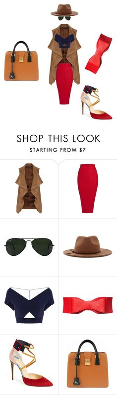 """""""Red, beige and blue smart/urban look"""" by maris-lember on Polyvore featuring Dorothy Perkins, Posh Girl, Ray-Ban, Forever 21, Roland Mouret, Christian Louboutin and Florian London"""