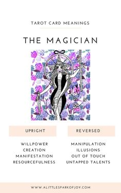 The Magician Tarot Card Meaning: Love, Health, Money & Tarot Cards Major Arcana, Rider Waite Tarot Cards, The Magician Tarot, Tarot Cards For Beginners, Tarot Card Spreads, Tarot Astrology, Tarot Card Meanings, Out Of Touch, Kitchen Witch