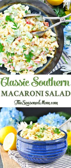 Classic Southern Macaroni Salad is the perfect cookout, potluck, or picnic dish for summer! Cookout Side Dishes, Potluck Dishes, Potluck Recipes, Side Dishes Easy, Side Dish Recipes, Pasta Dishes, Potluck Ideas, Picnic Ideas, Easy Pasta Salad Recipe
