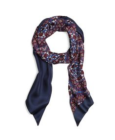 Medallion Silk Twill Tubular Scarf Navy