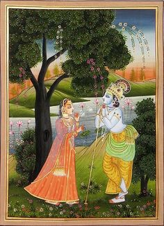 Krishna Spellbound by Radha& Beauty - Miniature Paintings (Miniature Painting on Silk Cloth - Unframed) Mughal Paintings, Indian Paintings, Abstract Paintings, Art Paintings, Krishna Painting, Krishna Art, Shree Krishna, Rajasthani Miniature Paintings, Indian Traditional Paintings