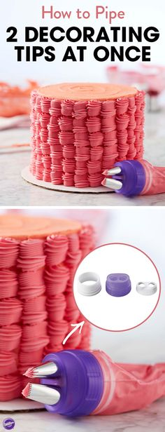 Get creative with your cake decorating skills when you use this duo tip coupler set from Wilton. It allows you to use two different decorating tips at the same time to create two different designs. You won't ever want to put it down. Set includes: duo coupler, petal tip 104, star tip 22, round tip 10, basketweave tip 48 and 6 disposable decorating bags.
