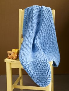 Free Knitting Pattern 90273AD Bright Nursery Baby Throw : Lion Brand Yarn Company
