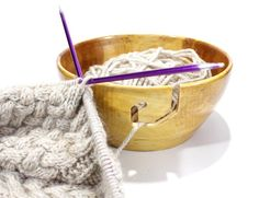 Handmade Wooden Knitting Bowl  Crochet Bowl  by berkshirebowls