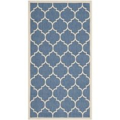BEST COLOR so far... Shop for Safavieh Courtyard Moroccan Pattern Blue/ Beige Indoor/ Outdoor Rug (2'7 x 5'). Free Shipping on orders over $45 at Overstock.com - Your Online Home Decor Outlet Store! Get 5% in rewards with Club O! - 15661887