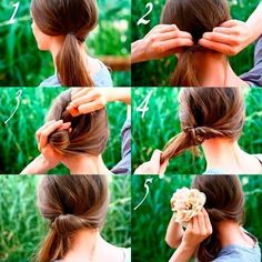Side hair inverted pony