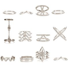 New Look 12 Pack Silver Diamante Rings featuring polyvore women's fashion jewelry rings silver diamante jewellery silver jewelry silver rings silver jewellery diamante jewelry
