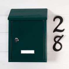 Smart Locking Wall-Mount Mailbox - $25 - Signature Hardware - also comes in black or white - inexpensive option and it locks