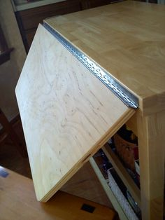A Simple Rolling Kitchen Island Purchased From Lowes, Add A Piano Hinge,  And It