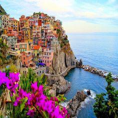 Village Of Manarola, Cinque Terre, Italy. With Flowers. 24