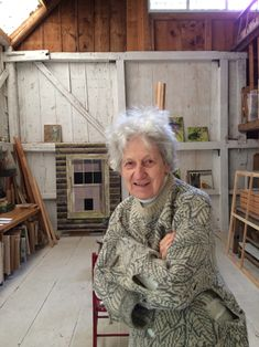 Lois Dodd in her Cushing, Maine studio, Fall 2014.