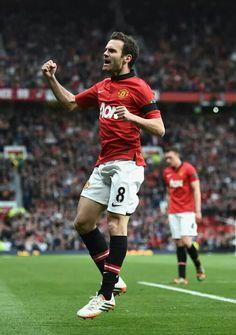 Juan Mata celebrates goal in match against Norwich City