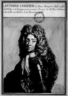 Antoine II Coëffier de Ruzé, Marquis d'Effiat (1639 - 1719), Premier Ecuyer de Monsieur. Fils aîné de Martin Coëffier de Ruzé, marquis d'Effiat, Lt.-Gal. des Armées du Roi en Basse-Auvergne et gouverneur du Bourbonnais, et d'Isabelle d'Escoubleau de Sourdis, il était neveu du célèbre Marquis de Cinq-Mars. Il épousa Marie-Anne Olivier du Bois de Leuville, gouvernante des Enfants de Monsieur, qui mourut en 1684 sans lui donner d'enfants. Louis XIV le fit chevalier de l'Ordre du St. Esprit en…