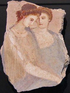 ❤ -Two Women, Fragment of a wall fresco, Roman, 1-75 CE