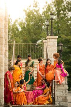 Indian bride in a green Sabyasachi lehnga with her beautiful bridesmaids   Kumari Photo   Rubies and RIbbon http://kumariphotoanddesign.com/
