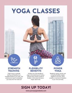 Carteles Design, Tipos Carteles, Ejemplos Carteles - Yoga Class Poster Template Examples // Elevate Your Poster Design To The Next Plane With This Yoga Class Poster Template.