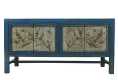 4-Door Tall Lotus Sideboard, Blue/Silver on One Kings Lane, would love to make bath vanity out of this!
