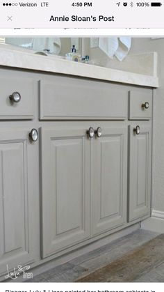 Annie Sloan chalk paint: French Linen. Sealed with clear wax and added a little dark wax to give it an antiqued look.