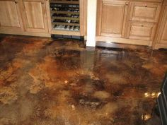wood kitchen cabinets & stained concrete floors | 20 Photos of the How to Stain Concrete Floors