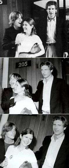 """""""Are you jealous yet, Harrison?"""" Mark Hamill, Carrie Fisher and Harrison Ford Star Wars Film, Star Wars Cast, Images Star Wars, Star Wars Pictures, Star Wars Love, Star War 3, Carrie Fisher, Star Wars Brasil, Princesa Leia"""