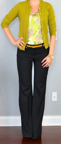 Outfit Posts: outfit post: green floral blouse, green/mustard cardigan, black pants, yellow belt.  Get rid of cardigan and use a white one.