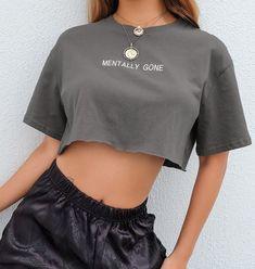 Waatfaat Summer Embroidery Letter Basic Crop T Shirt Loose Casual Harajuku Tshirt Women Kawaii Tee Korean Cute T-shirt Clothing T-shirt Crop, T Shirt Crop Top, Loose Crop Top, Red Crop Top, Girls Fashion Clothes, Teen Fashion Outfits, Mode Outfits, Aesthetic Shirts, Aesthetic Clothes