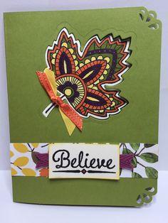 Stampin Up Lighthearted Leaves stamp set leaflets framelits. into the woods designer paper
