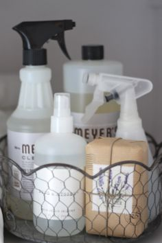 Keep cleaning supplies corralled in pretty baskets.