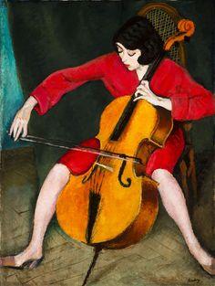 Berény Róbert: Csellózó nő, 1928, olaj, vászon