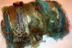 Celestial Seaweed Spinning Fiber Textured Art Batt Felting via Etsy