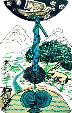 """Die Runenkarte """"Laguz"""" von Poeta Immortalis. Gezeichnet nach Geistreiseerfahrungen, die auch Verbindungen zwischen Runen und Tarot erkennen lassen (siehe links unten) - Mehr dazu: http://nebel-all-raunen.blogspot.de/2015/07/runenkunde-um-laguz.html"""