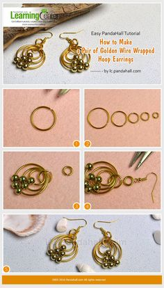 Easy PandaHall Tutorial - How to Make a Pair of Golden Wire Wrapped Hoop Earrings from LC.Pandahall.com