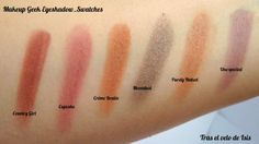 #makeupgeek eyeshadow pan in Country Girl, Cupcake, Crème Brulée, Moondust, Purely Naked & Unexpected_Swatches