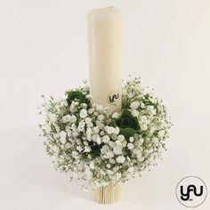 Lumanare botez scurta gypsophila - LB105 – YaU concept Gypsophila, Christening, Candle Holders, Concept, Candles, Contemporary, Design, Porta Velas